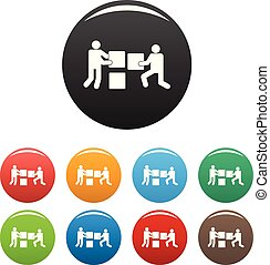 bâtiment, ensemble, icônes, couleur, vecteur, collaboration