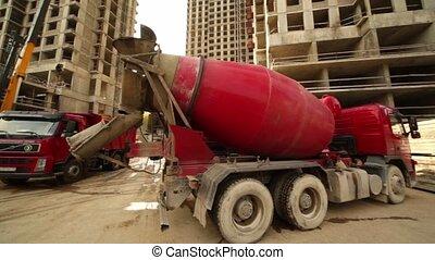 bâtiment, entiers, mélangeur, béton, sable, arrive, camion, stand, endroit