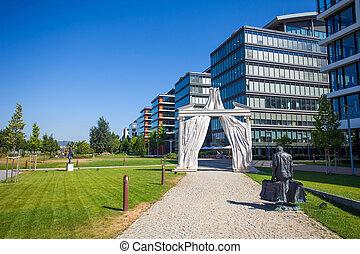 bâtiment, entrée, théâtre, national, moderne, budapest, devant, hongrie, voûte, bureaux