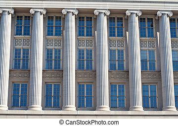 bâtiment, fédéral, fenetres, washington dc, colonnes