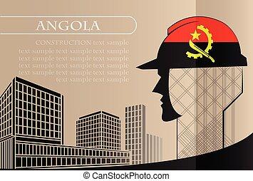 bâtiment, fait, angola, fonctionnement, industrie, drapeau, vecteur, illustration, logo, concept.