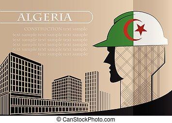 bâtiment, fait, fonctionnement, algérie, industrie, drapeau, vecteur, illustration, logo, concept.