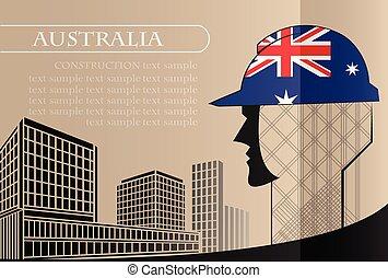 bâtiment, fait, fonctionnement, industrie, drapeau, australie, vecteur, illustration, logo, concept.