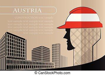 bâtiment, fait, fonctionnement, industrie, drapeau, autriche, vecteur, illustration, logo, concept.