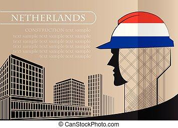 bâtiment, fait, fonctionnement, industrie, drapeau, pays-bas, vecteur, illustration, logo, concept.
