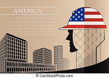 bâtiment, fait, fonctionnement, industrie, drapeau, vecteur, illustration, logo, amérique, concept.