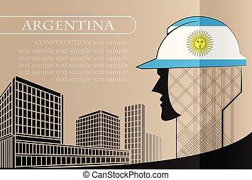 bâtiment, fait, fonctionnement, industrie, drapeau, vecteur, illustration, logo, argentine, concept.