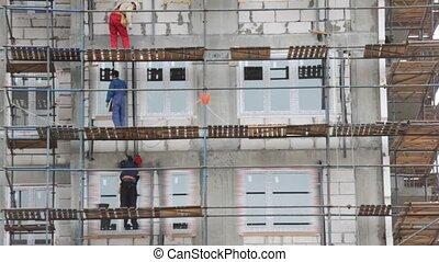 bâtiment, falsework, constructeurs, travaux, secteur