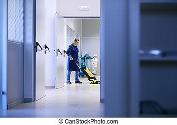 bâtiment, femme, lavage, plancher, fonctionnement, bonne, industriel, nettoyage, professionnel, machinerie