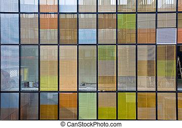 bâtiment, fenetres, bureau, coloré