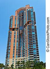 bâtiment, floride, miami, condominium, luxe, plage, sud