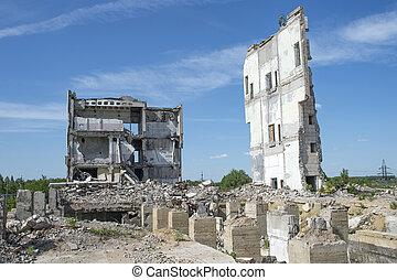 bâtiment, fondation, premier plan., tas, restes, grand, béton, fond