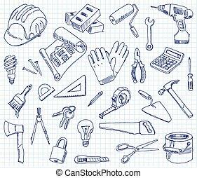 bâtiment, freehand, matériels, dessin
