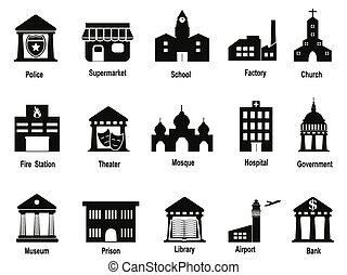 bâtiment, gouvernement, ensemble, noir, icônes
