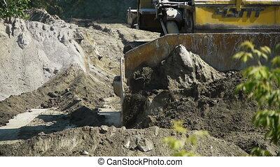 bâtiment, grand, bulldozer, site