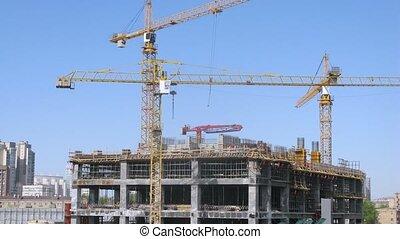 bâtiment, grues, gratte-ciel, trois, stand, défaillance temps