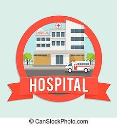 bâtiment, hôpital, bannière
