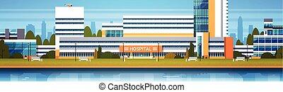 bâtiment, hôpital, moderne, horiozontal, clinique, extérieur, bannière, vue