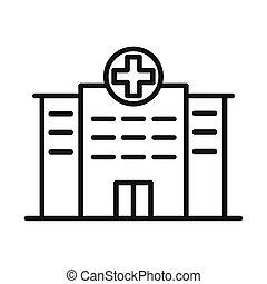 bâtiment, hôpital, style, healthcare, ligne, icône, pictogramme, monde médical
