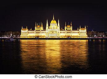 bâtiment, hongrois, nuit, parlement