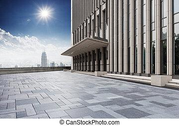 bâtiment, horizon, moderne, bureau