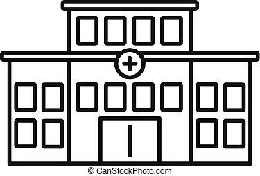 bâtiment, icône, hôpital, style, contour