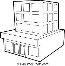 bâtiment, icône, style, contour