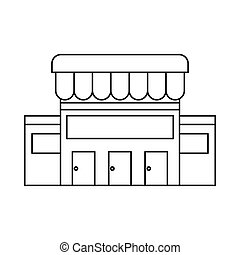 bâtiment, icône, style, contour, supermarché