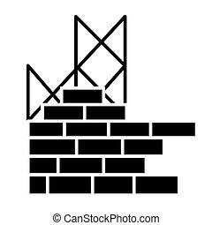 bâtiment, illustration, mur, isolé, signe, vecteur, arrière-plan noir, icône, construction, brique