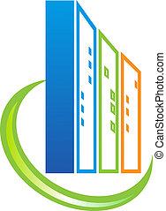 bâtiment, immobiliers, logo
