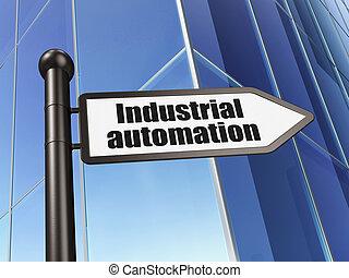 bâtiment, industriel, industrie, signe, fond, automation, concept: