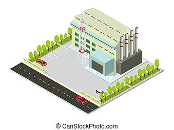 bâtiment industriel, vecteur, isométrique