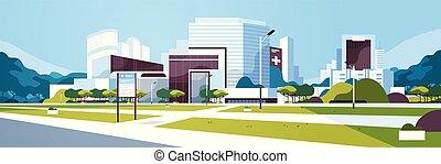 bâtiment, information, yard, extérieur, plat, grand, hôpital, moderne, arbres, clinique, planche, fond, cityscape, horizontal, bannière, monde médical