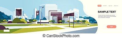 bâtiment, information, yard, extérieur, plat, grand, hôpital, moderne, espace, arbres, clinique, planche, fond, cityscape, horizontal, copie, bannière, monde médical