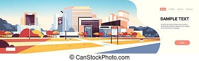 bâtiment, information, yard, fond, espace, grand, hôpital, moderne, arbres, plat, automne, clinique, planche, extérieur, dehors, cityscape, horizontal, copie, bannière, monde médical
