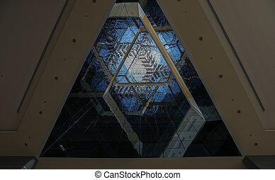bâtiment, intérieur, vue, triangulaire