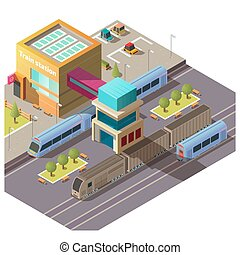 bâtiment, isométrique, vecteur, moderne, gare