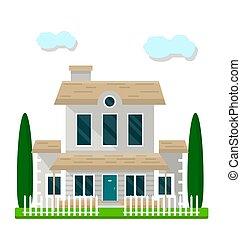 bâtiment, jardin, coloré, résidentiel, isolé, blanc