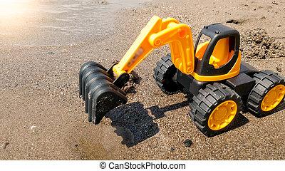 bâtiment, jouet, excavateur, image, plastique, sable, concept, plage., mer, mouillé, closeup, construction.