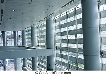 bâtiment, large, hong, coup, moderne, il, kong