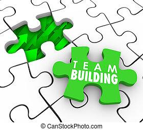 bâtiment, location, interactio, puzzle, recrue, équipe, nouveau, morceau, employés