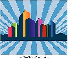 bâtiment, logo, horizon, immobiliers