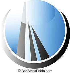 bâtiment, logo, vecteur, gratte-ciel