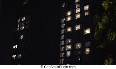 bâtiment, lumières, intérieur, soir, extérieur