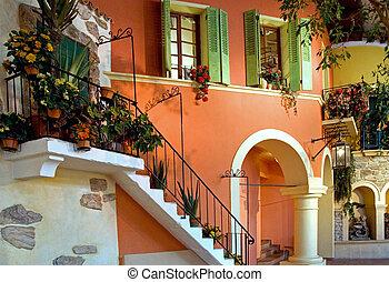 bâtiment, méditerranéen