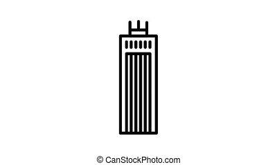 bâtiment, métropole, animation, icône