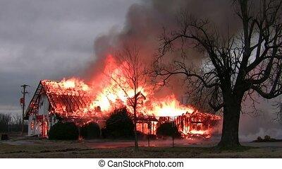 bâtiment, maison, /, brûler, ardent