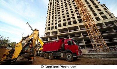 bâtiment, maison, chargements, camion, vivant, endroit, bulldozer