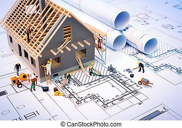 bâtiment, maison, modèles