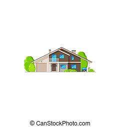 bâtiment maison, moderne, maison, résidentiel, icône